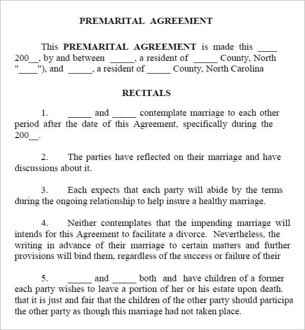 Top 5 Resources To Get Free Prenuptial Agreement Templates - Word ...
